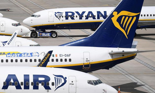 epa08520285 Ryanair aircraft at Stansted Airport in London, Britain, 01 July 2020. The UK government...