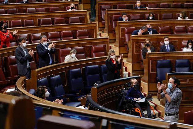 El vicepresidente segundo del Gobierno, Pablo Iglesias, este miércoles en el