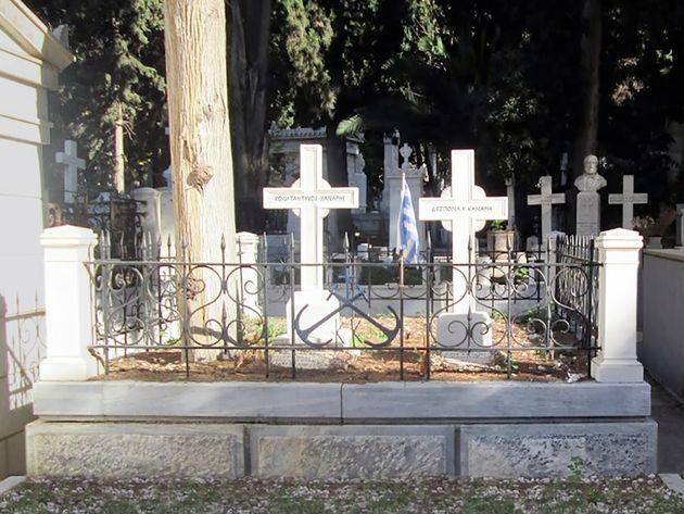 Ο τάφος του Κωνσταντίνου Κανάρη στο πρώτο νεκροταφείο της
