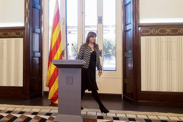 La presidenta del Parlament de Cataluña, Laura Borràs, este miércoles en la Cámara
