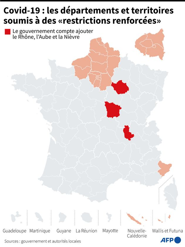 Confinement: le Rhône, l'Aube et la Nièvre devraient passer en