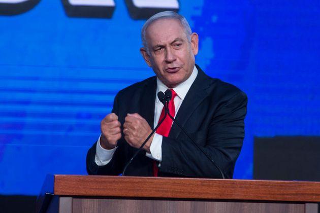 JERUSALEM, ISRAEL - MARCH 24: Israeli Prime Minster Benjamin Netanyahu speaks in the Likud party after...