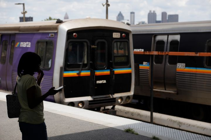 This Tuesday, August 20, 2019, a woman is waiting to board a Metropolitan Atlanta Rapid Transit Authority train in West En