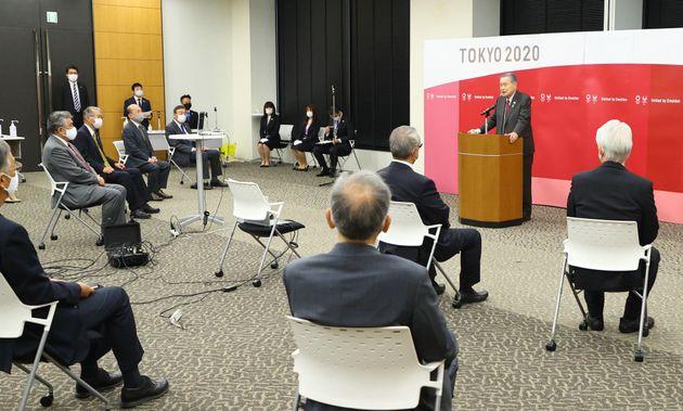 年頭あいさつを行う東京五輪・パラリンピック大会組織委員会の森元会長=2021年1月12日