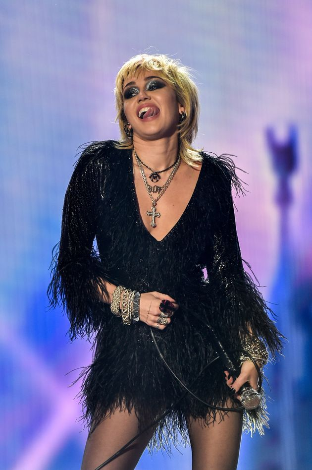 Miley Cyrus performing on New Year's