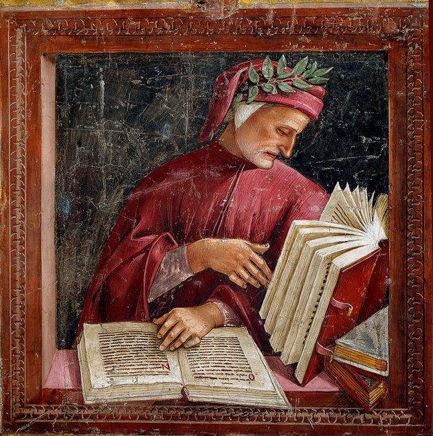 Portrait of Dante Alighieri (1265 - 1321), Fresco by Luca Signorelli (1441 or 1450-1523), 1499-1504,...