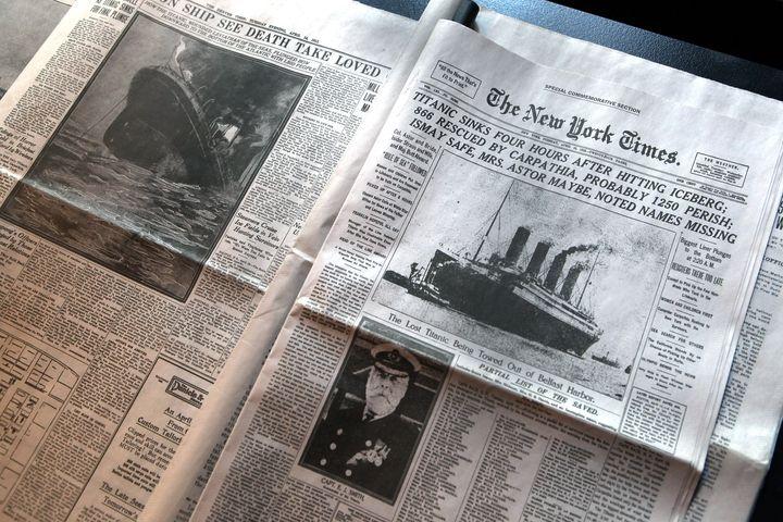 Portada de 'The New York Times' del 15 de abril de 1912 sobre la tragedia del Titanic.