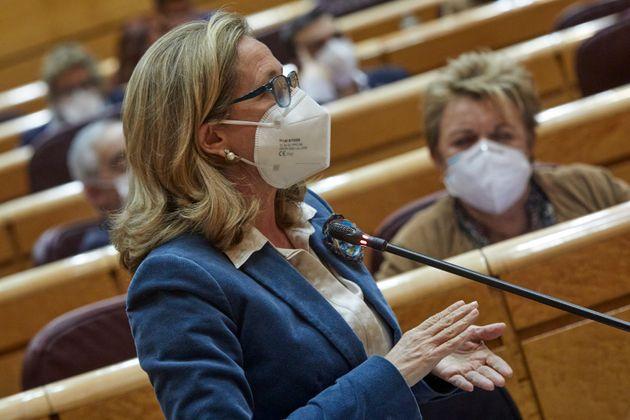 La ministra de Economía, Nadia Calviño en el Congreso de los