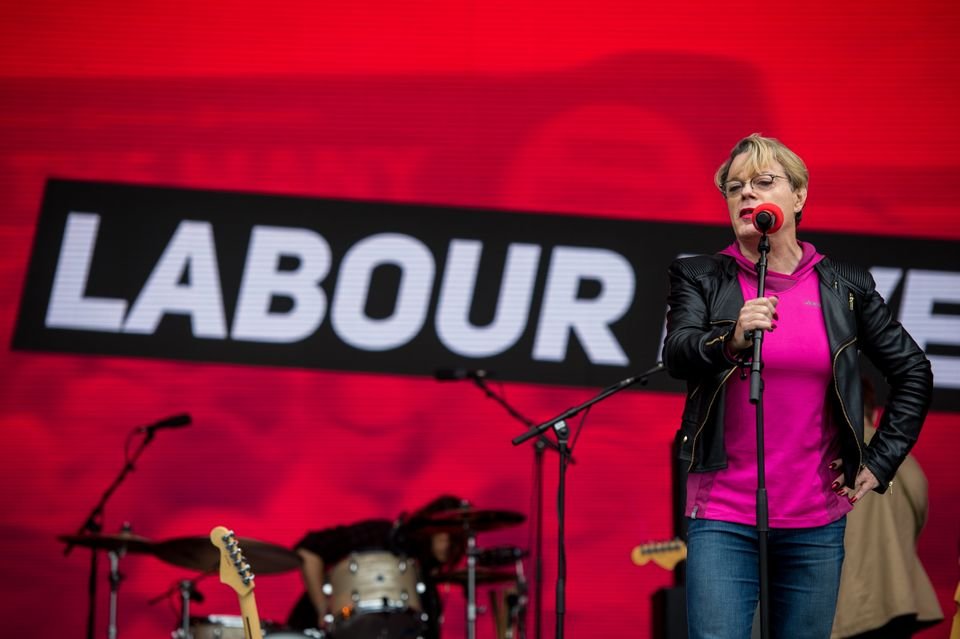 Eddie Izzard speaks on the main stage at Labour Live in London, June