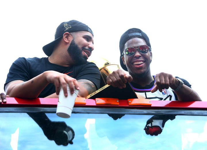 Drake and Lowry share a moment during the Toronto Raptors' victory parade on June 17, 2019.