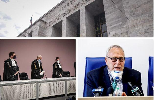 In alto il tribunale di Milano. In basso, a sinistra il collegio che ha assolto i vertici Eni, a destra...