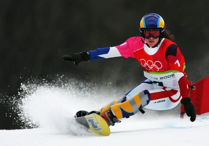 Julie Pomagalski in action at the 2006 Turin Winter Olympics.