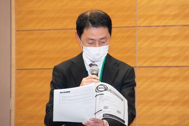 メッセージを代読した永野靖弁護士