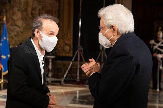 25/03/2021 Roma, Quirinale, il presidente della Repubblica assiste alla cerimonia per la celebrazione...