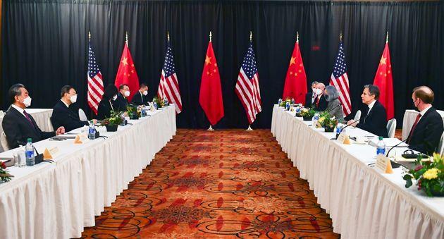 Reunión entre EEUU y China en Alaska, el pasado 18 de