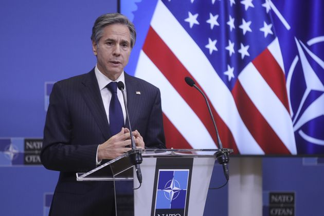 Secretary of State Antony Blinken gives a press briefing in Brussels, Belgium, on Wednesday.Without a fully functioning