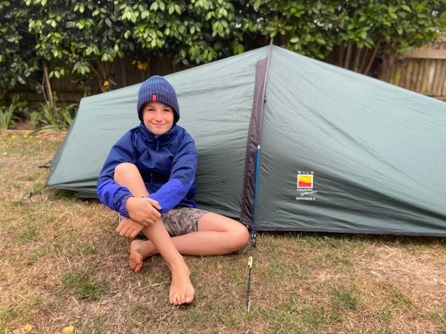 Max Woosely with his garden tent.