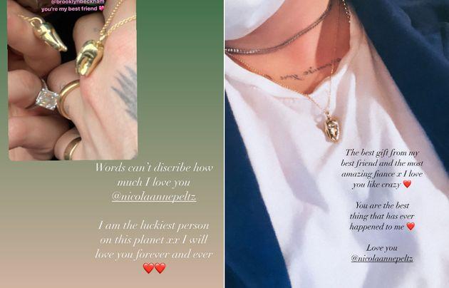 Brooklyn praised Nicola's gift on his own Instagram