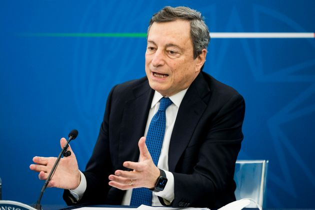 Italian Prime Minister Mario Draghi during a press conference, in Rome, Italy, 26 March 2021. ROBERTO...