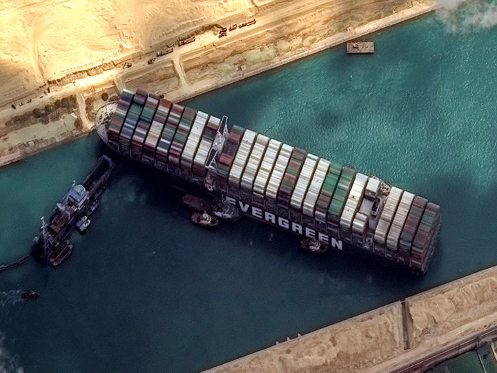 High-resolution satellite imagery of the container ship that remains stuck in the Suez Canal.