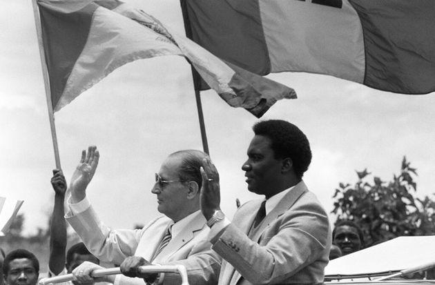 François Mitterrand et le président rwandais Juvenal Habyarimana, le 7 octobre