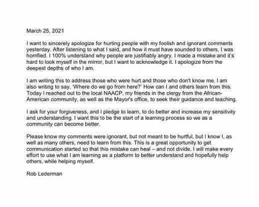 Rob Lederman's apology.