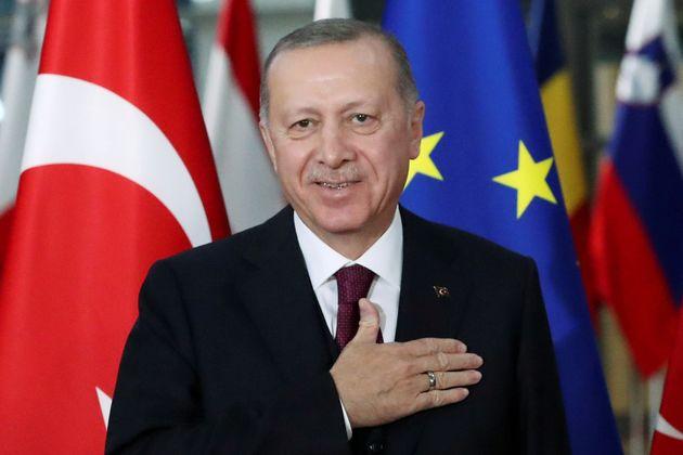 Recep Tayyip Erdogan avant une rencontre à Bruxelles avec Charles Michel, le 9 mars