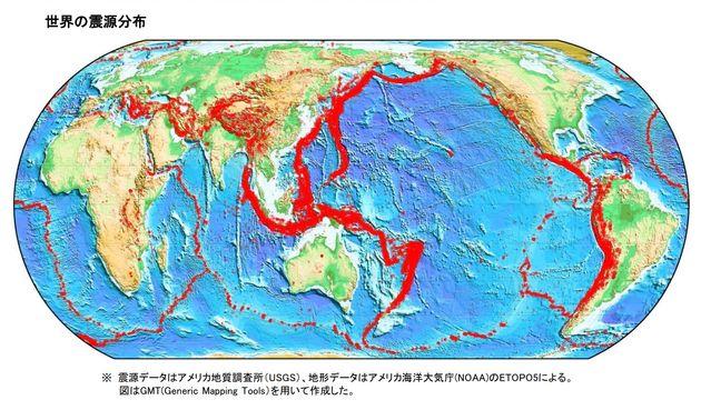 震源データはアメリカ地質調査所(USGS)、地形データはアメリカ海洋大気庁(NOAA)のETOPO5によるという。