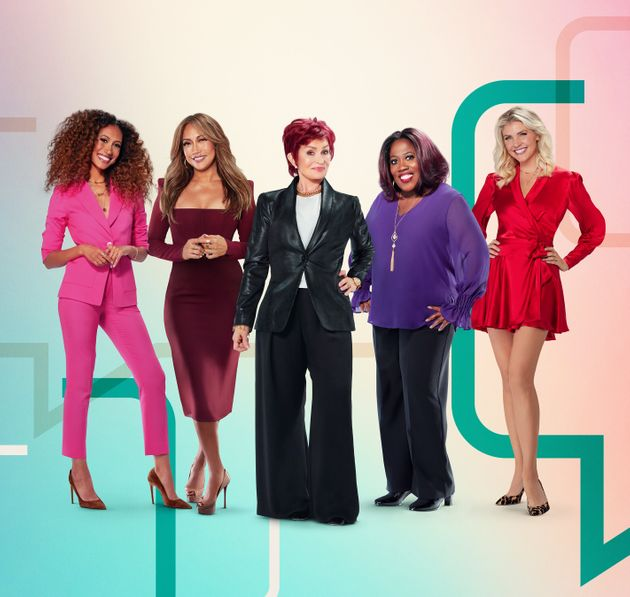 L-R: Elaine Welteroth, Carrie Ann Inaba, Sharon Osbourne, Sheryl Underwood and Amanda Kloots, hosts of...