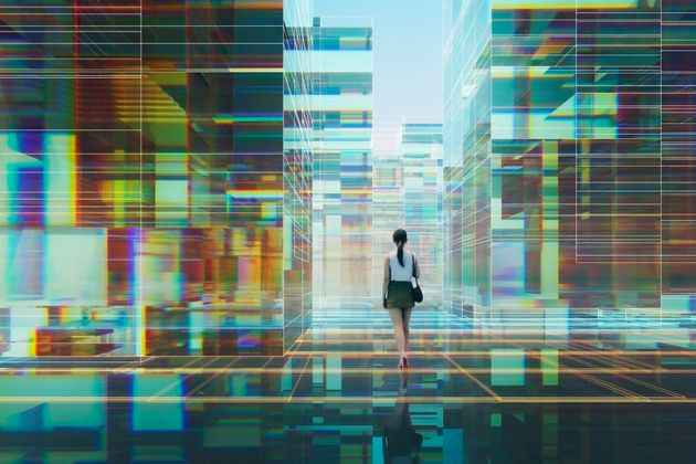 Woman walking in futuristic glass city, 3D generated