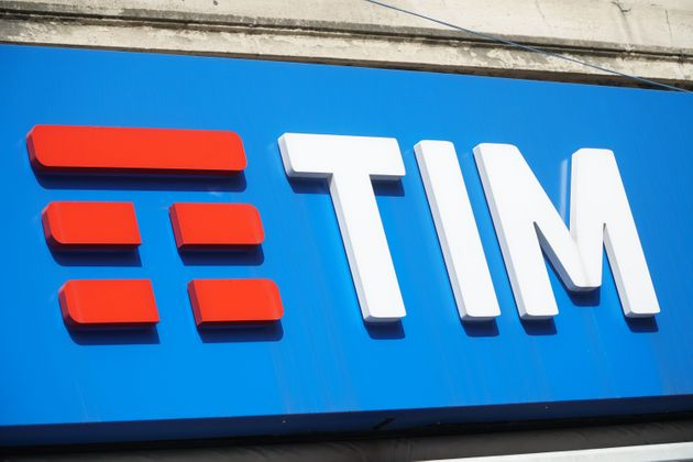 A picture taken in Milan on April 5, 2018 shows the logo of TIM, the Italian telecomunications company....