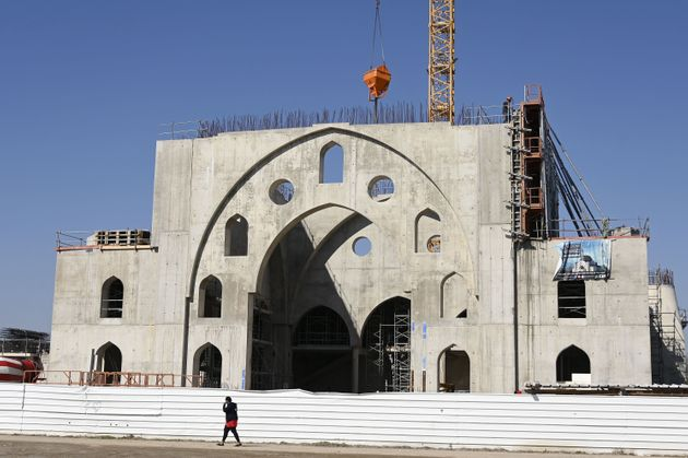 This picture taken on March 24, 2021 shows the construction site of the Eyyub Sultan Mosque in Strasbourg...