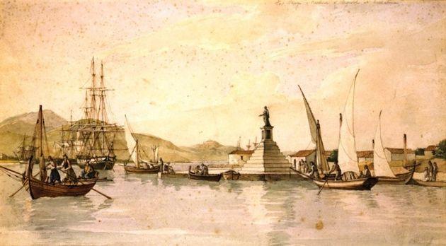 Αργοστόλι. Το λιμάνι περίπου το 1820. Έργο του Joseph Cartwright. Φυλάσσεται στο Μουσείο Μπενάκη.