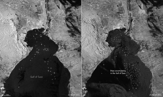 Suez Canal: Satellite Images Reveal Scale Of The Traffic