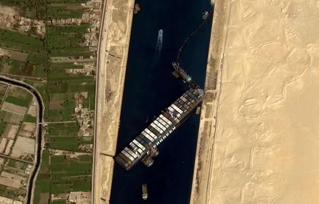 This satellite image shows the Ever Given stuck in the Suez