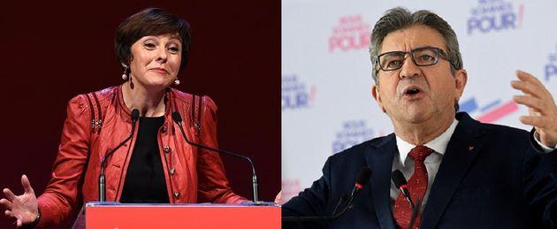 Carole Delga, présidente PS d'Occitanie et Jean-Luc Mélenchon, candidat LFI à la