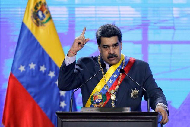Nicolas Maduro lors d'une cérémonie à Caracas le 22 janvier