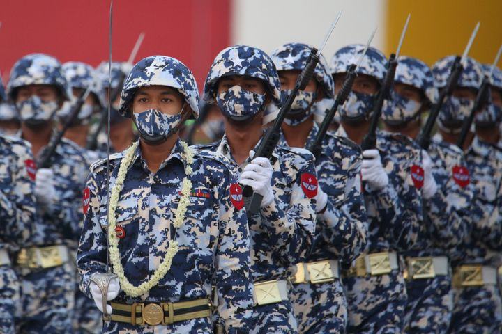Military personnel participate in a parade on Armed Forces Day in Naypyitaw, Myanmar, Saturday, March 27, 2021.