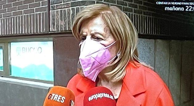 María Teresa Campos, con la mascarilla al