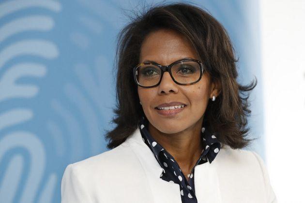 La candidate à la présidence de la région Île-de-France, Audrey Pulvar, en...