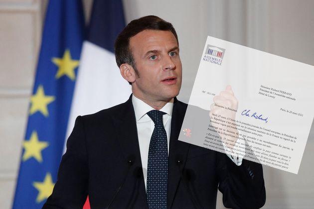 Emmanuel Macron lors de sa conférence de presse dans la soirée du jeudi 25