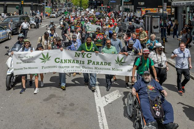 UNION SQUARE PARK, NEW YORK, UNITED STATES - 2018/05/05: The NYC Cannabis Parade and Rally, New Yorks...