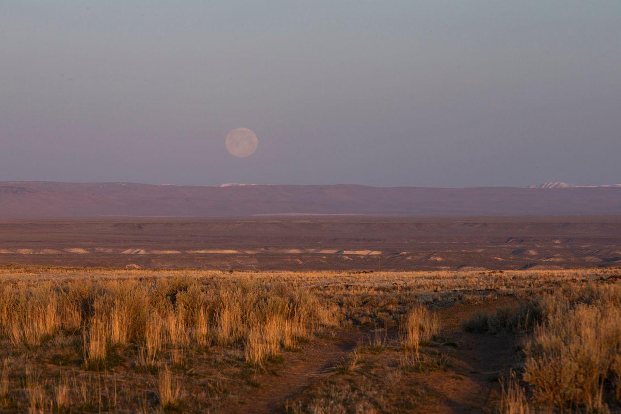 Sunrise over the sagebrush as the moon sets outside Rome, Oregon, on Sunday, March 28.