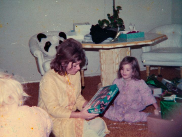 The author and her mother in their California home on Christmas Day in 1974.
