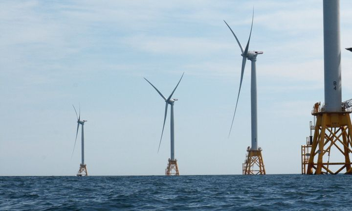 A photo of the Deepwater Wind offshore wind farm at Block Island on Aug. 14, 2016.