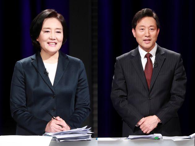첫 TV 토론 나선 박영선(좌)·오세훈 서울시장