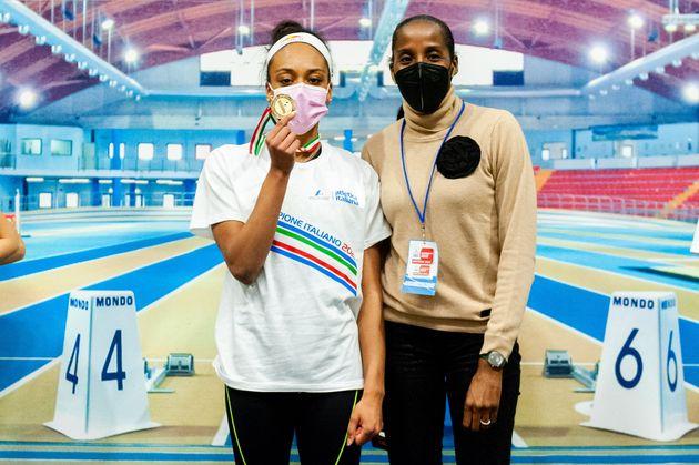 ANCONA, ITALY - FEBRUARY 20: Larissa Iapichino celebrates with her mother, former athlete Fiona May,...