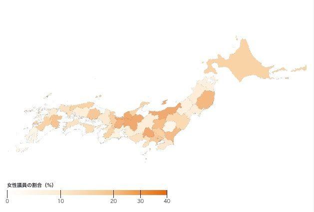都道府県別にみる、2017年の衆院選における女性候補者の割合。白が0%、色が濃いほど割合が高い(Shota