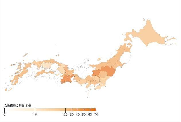 都道府県別にみる、2019年の参院選における女性候補者の割合。白が0%、色が濃いほど割合が高い(Shota