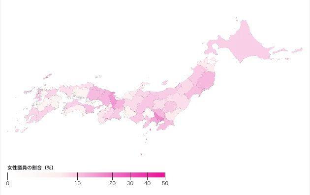 各都道府県議会の女性比率。色が濃いほど女性議員の割合が高い(Shota